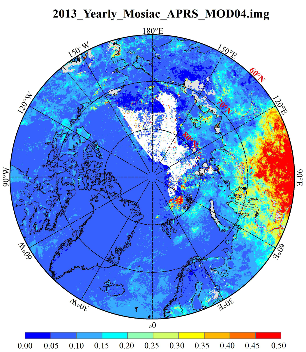 Aerosol optical thickness  in the three polar region V1.0 (2000-2019)